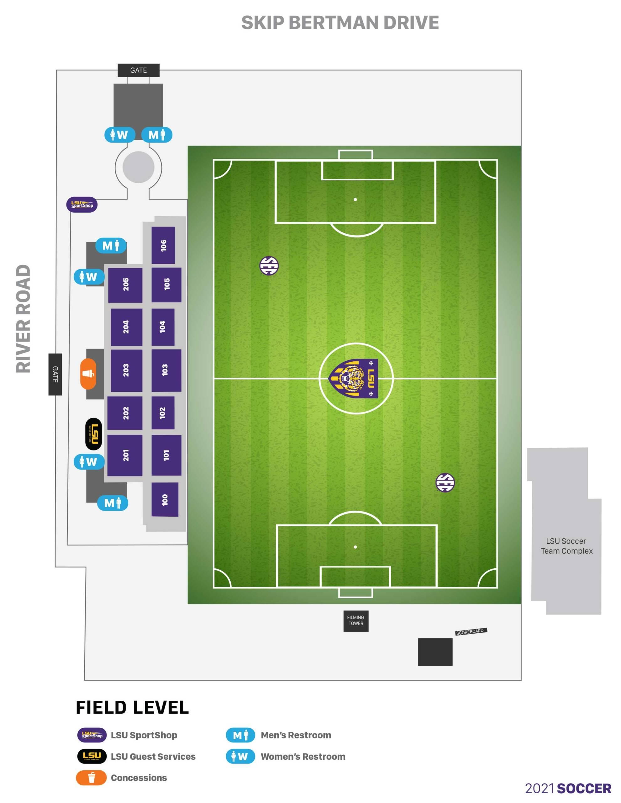 LSU Soccer Stadium - Seating Chart (2021)