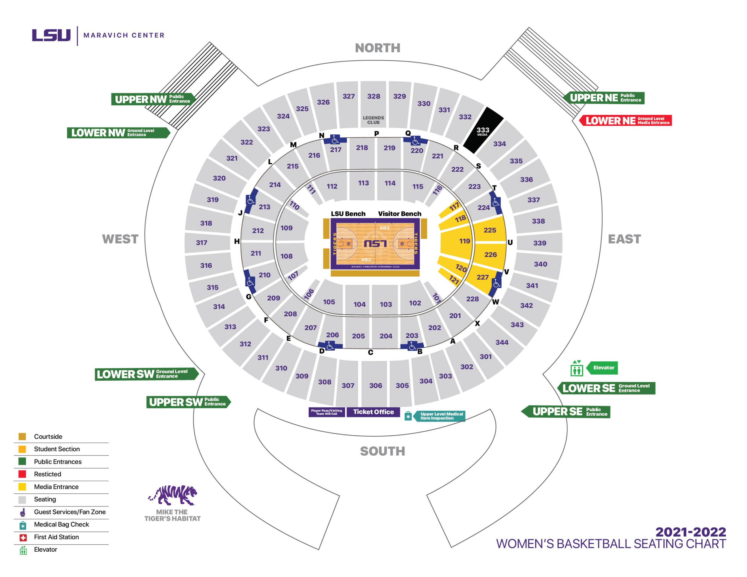 2021-22 LSU Women's Basketball - Maravich Center Seating Chart
