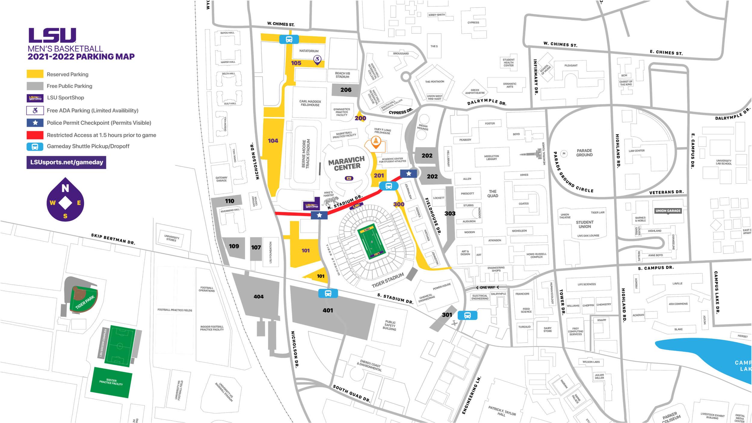 LSU Men's Basketball Parking Map