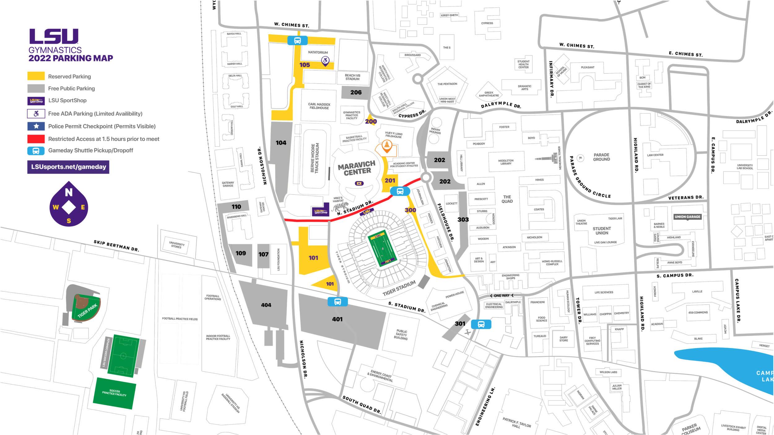 2021 LSU Gymnastics Parking Map