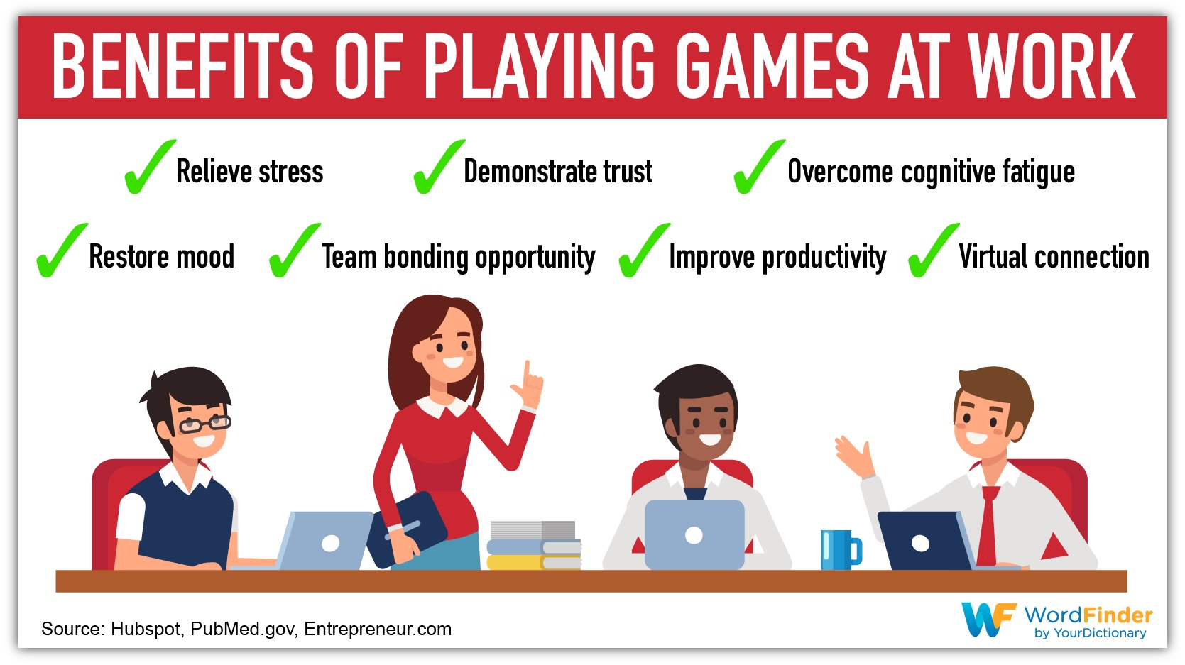 benefits of playing games at work infographic