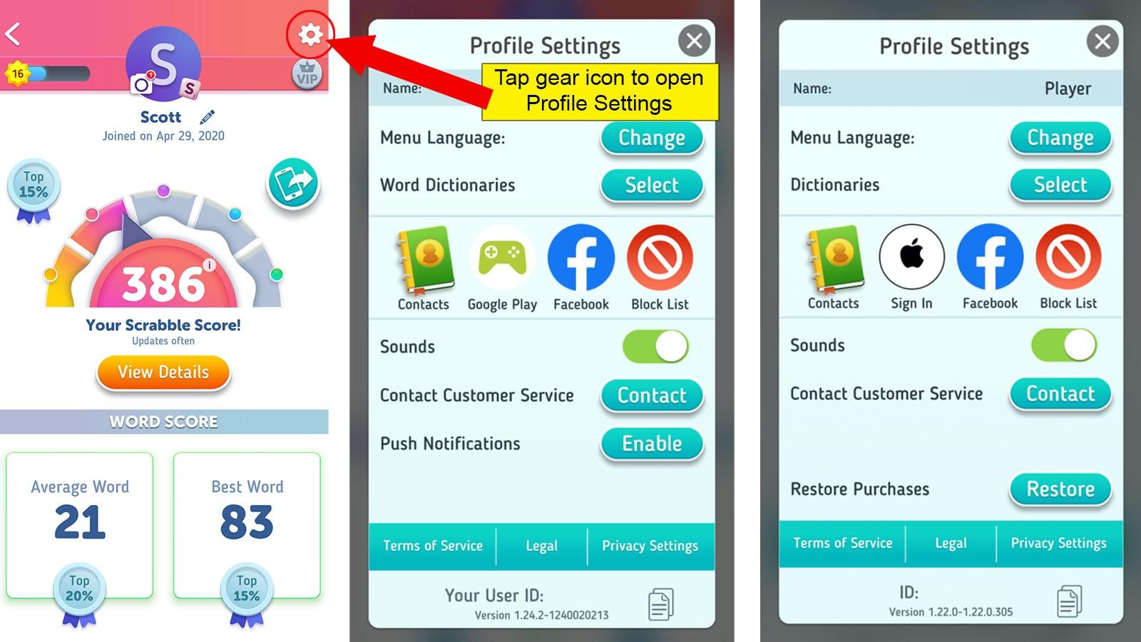 delete Scrabble Go profile settings