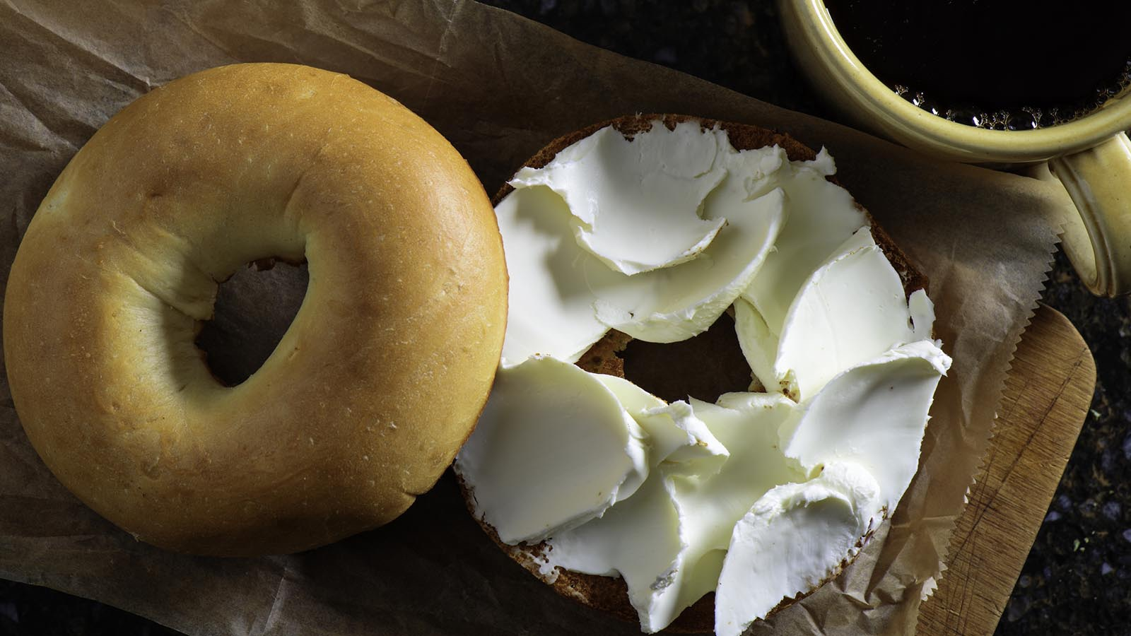 new york bagel with cream cheese schmear