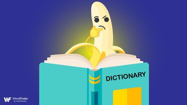 cartoon banana reading dictionary