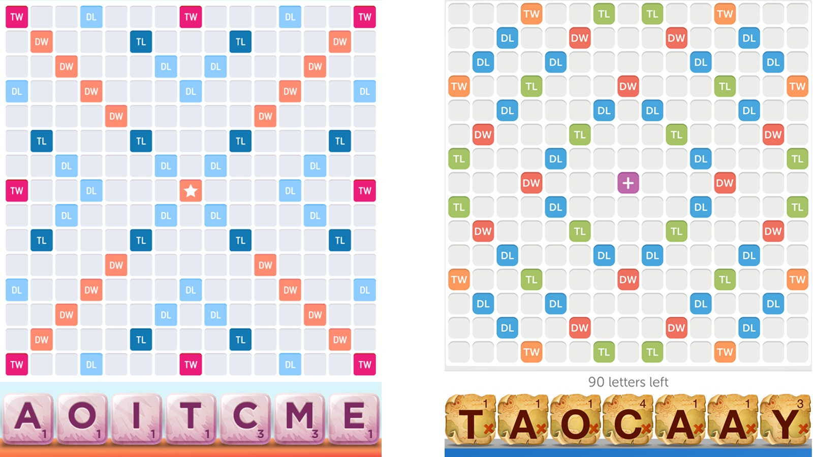 Screenshot Scrabble Go and WWF boards comparison