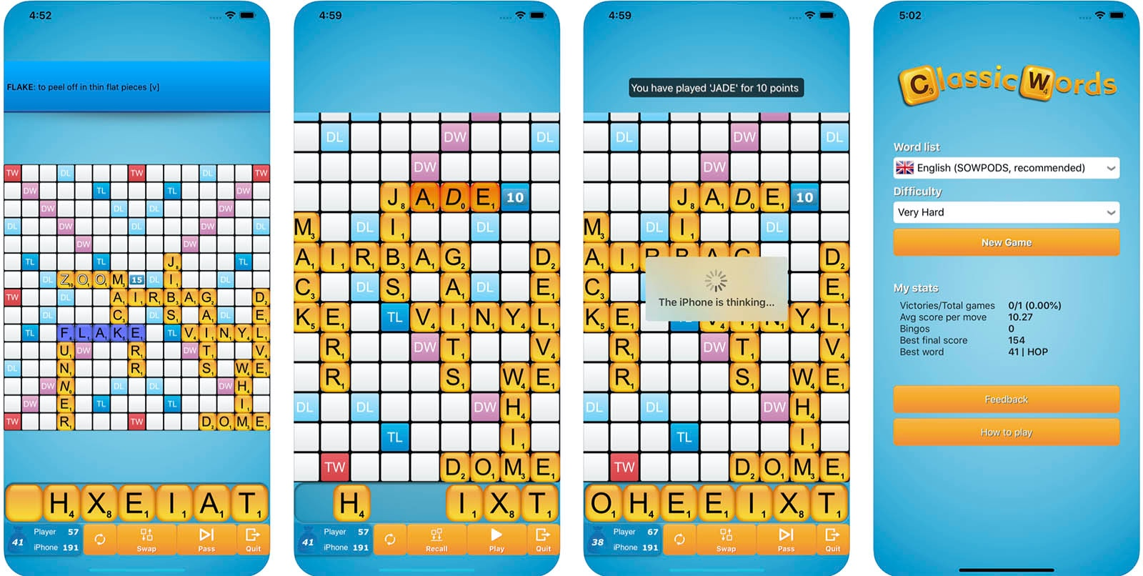 Screenshot of Classic Words (solo) game