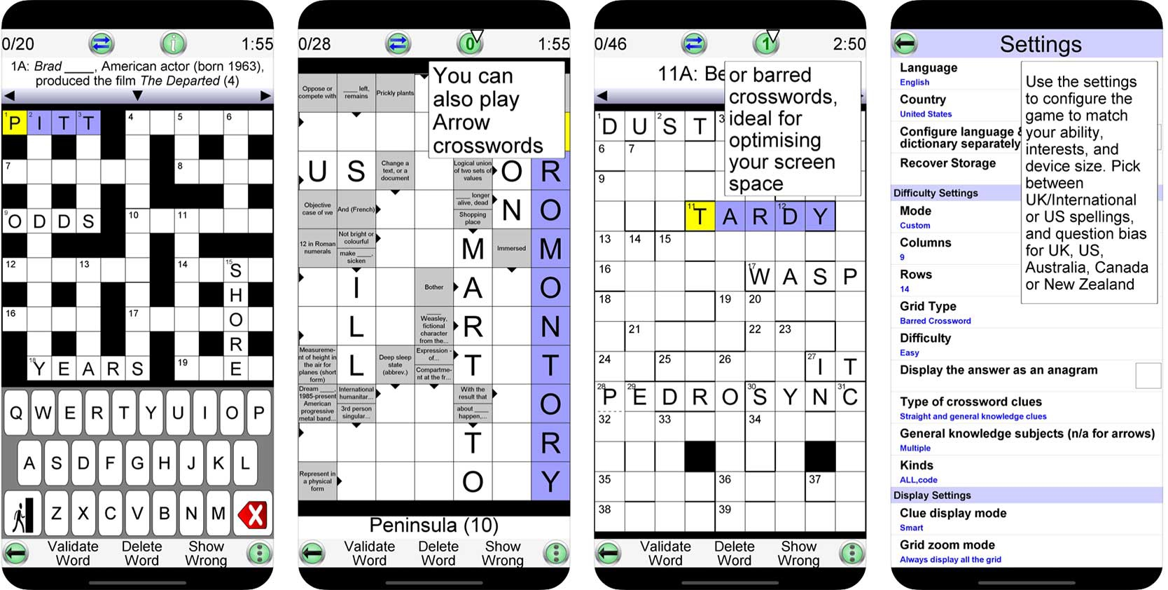Screenshot of Crossword Unlimited game