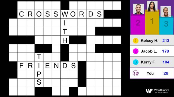 crossword puzzle filled out with leaderboard
