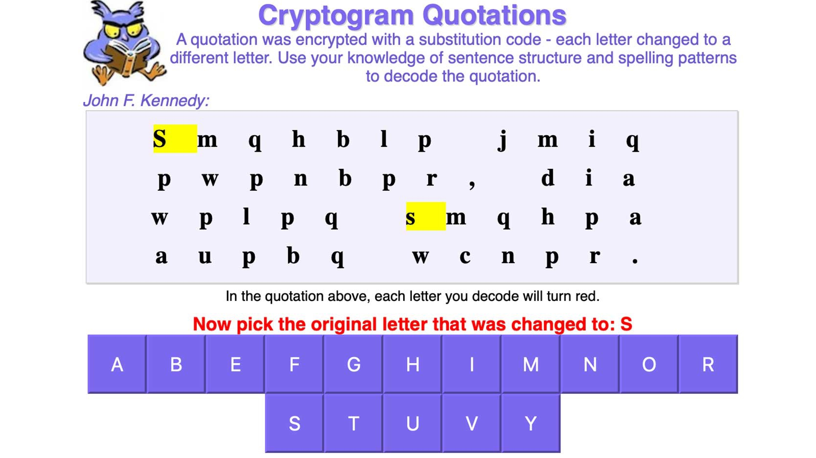 cryptogram quotations online word game