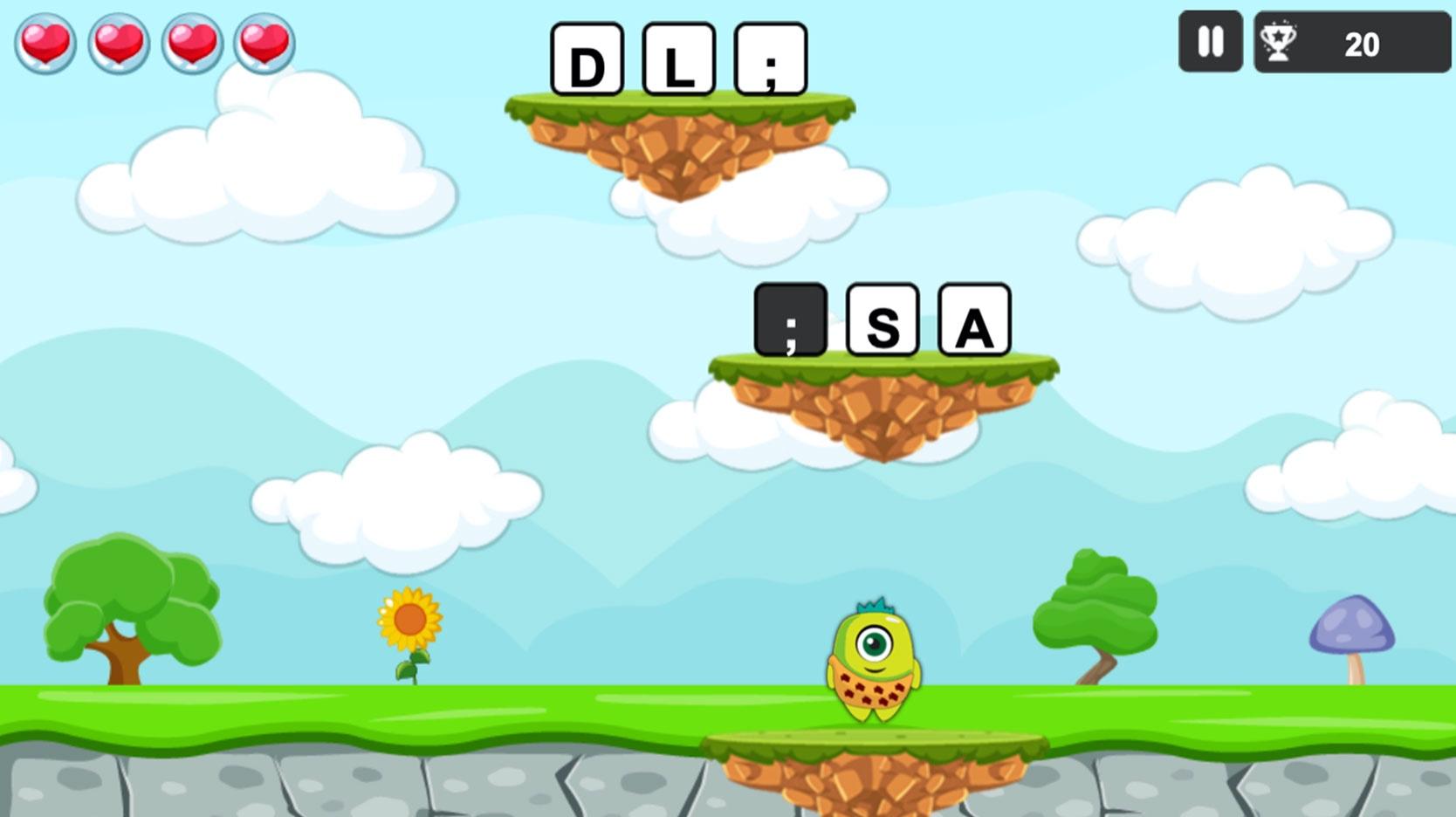 screenshot of cute jumper typing game