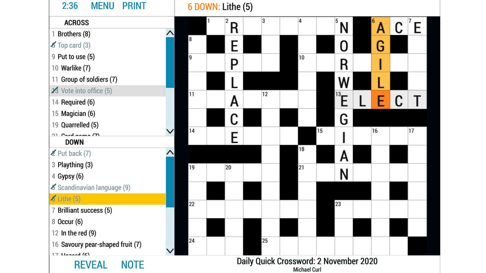 daily quick crossword online word game