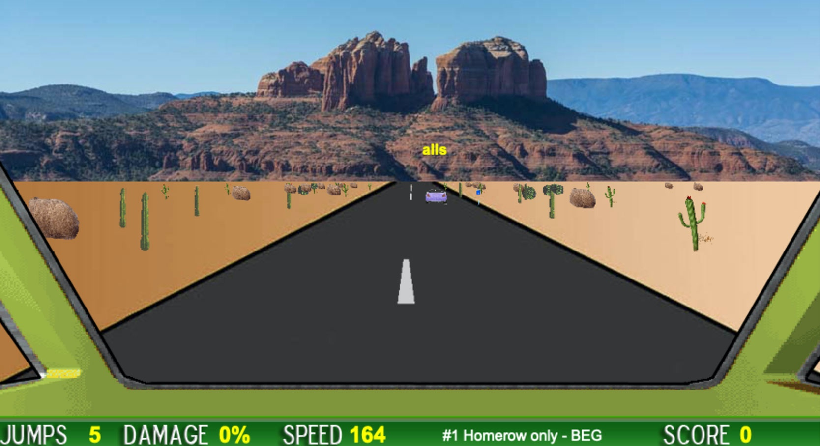 screenshot of desert typing racer game