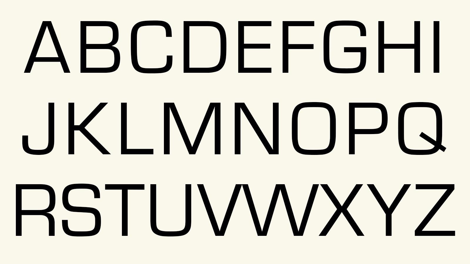 Alphabet in Eurostile font
