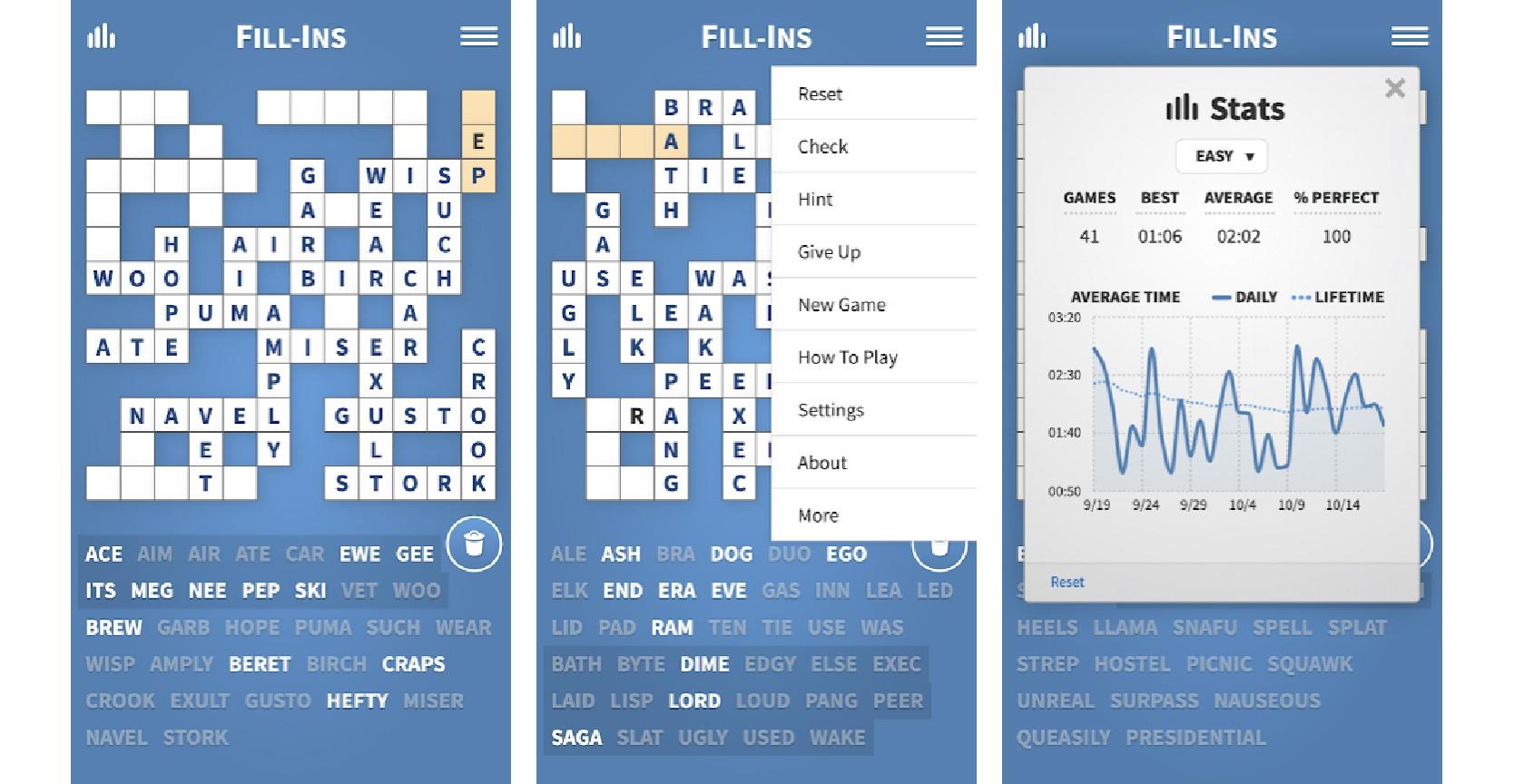 Fill-Ins mobile app screenshots