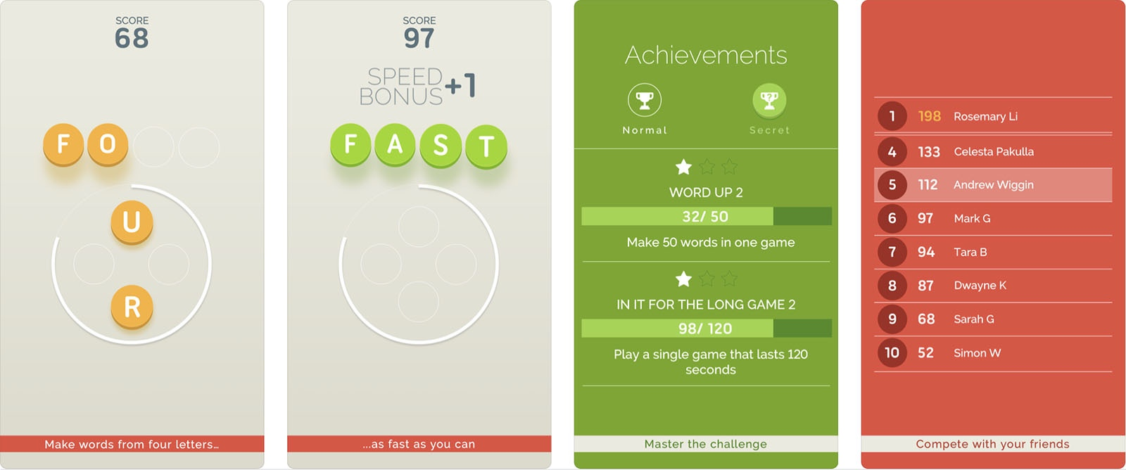 Screenshot of Four Letter Game