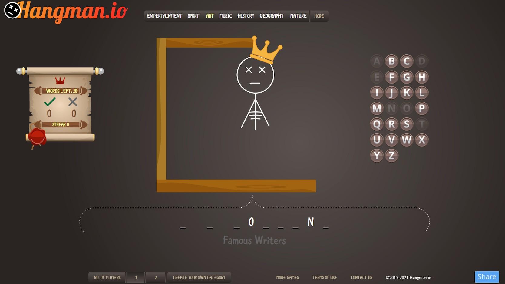 hangman desktop game famous writers