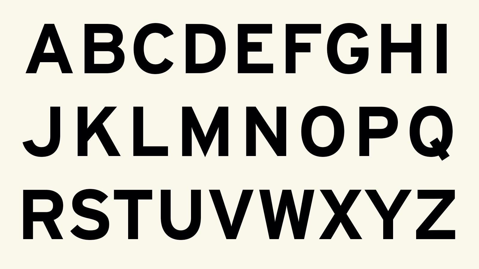 Alphabet in Interstate Bold