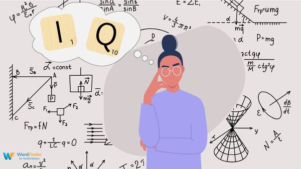 Woman thinking of IQ scrabble tiles