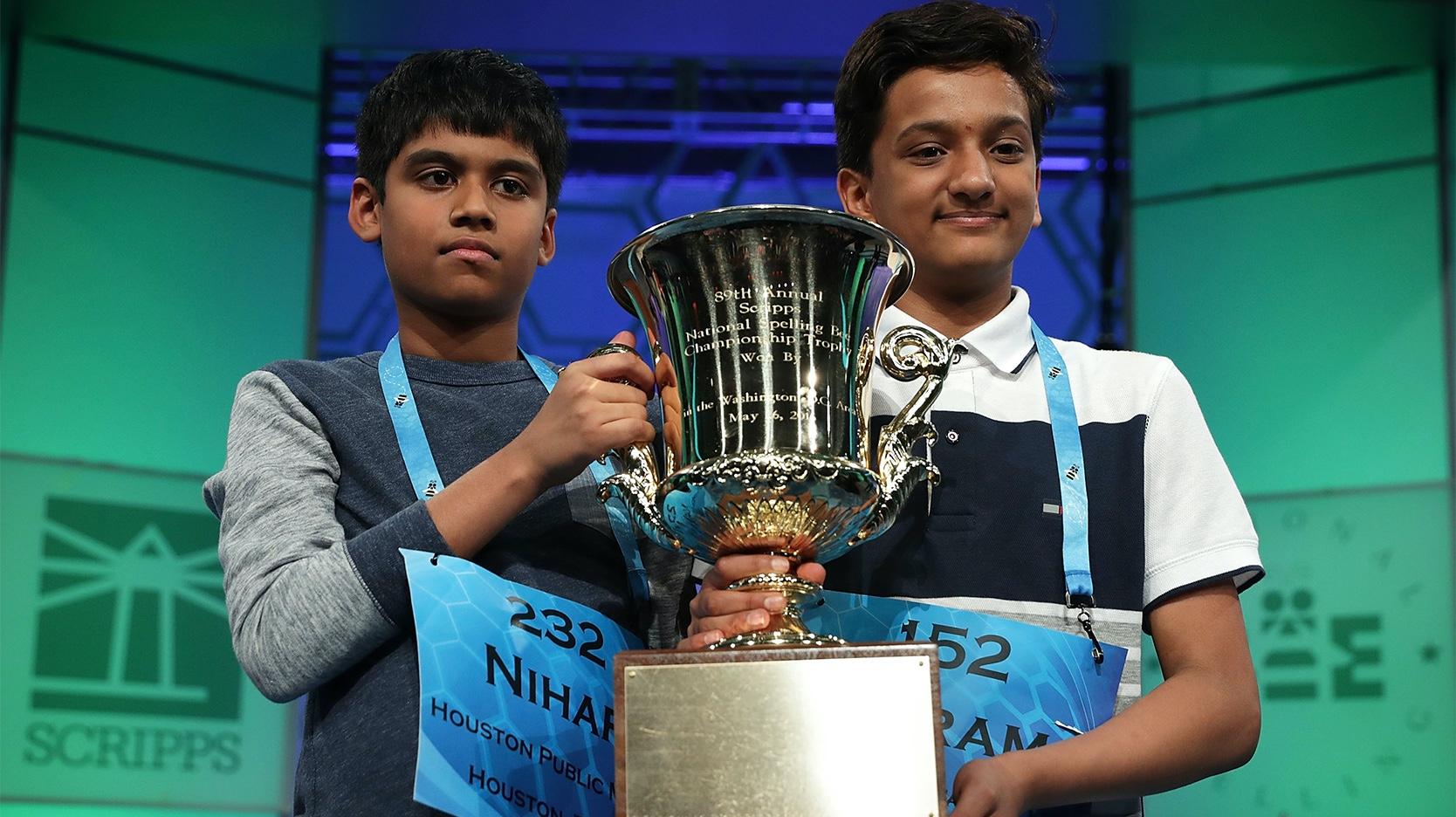 Nihar Janga and Jairam Hathwar Scripps National Spelling Bee champions 2016