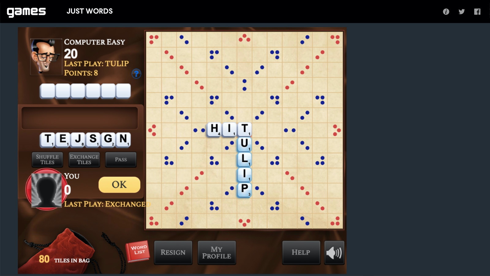 Screenshot of Just Words game