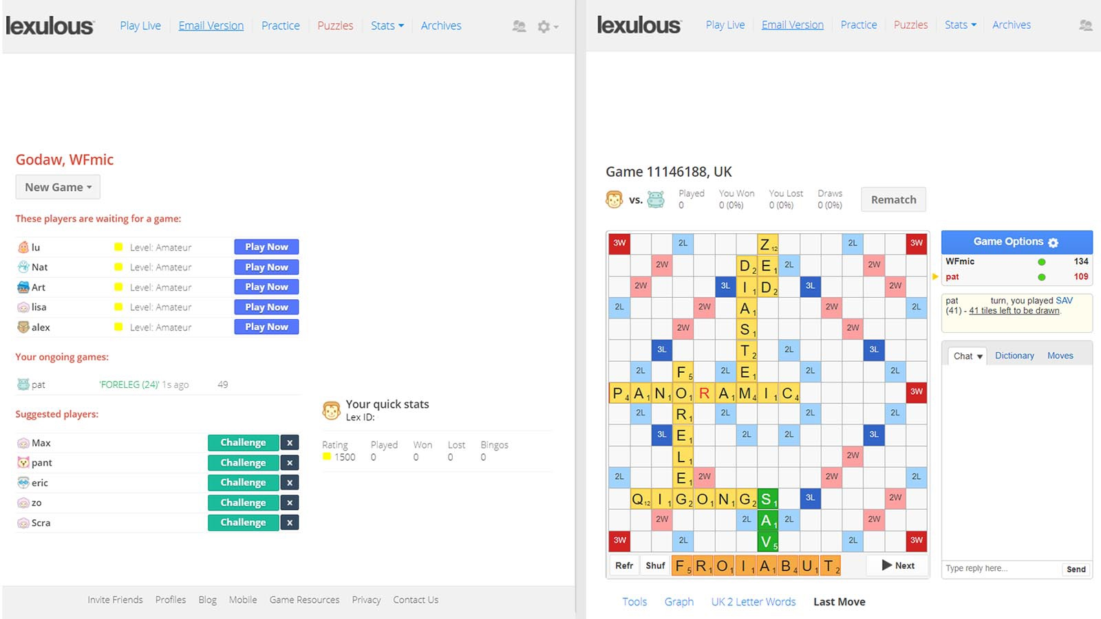 Screenshot of Lexulous game