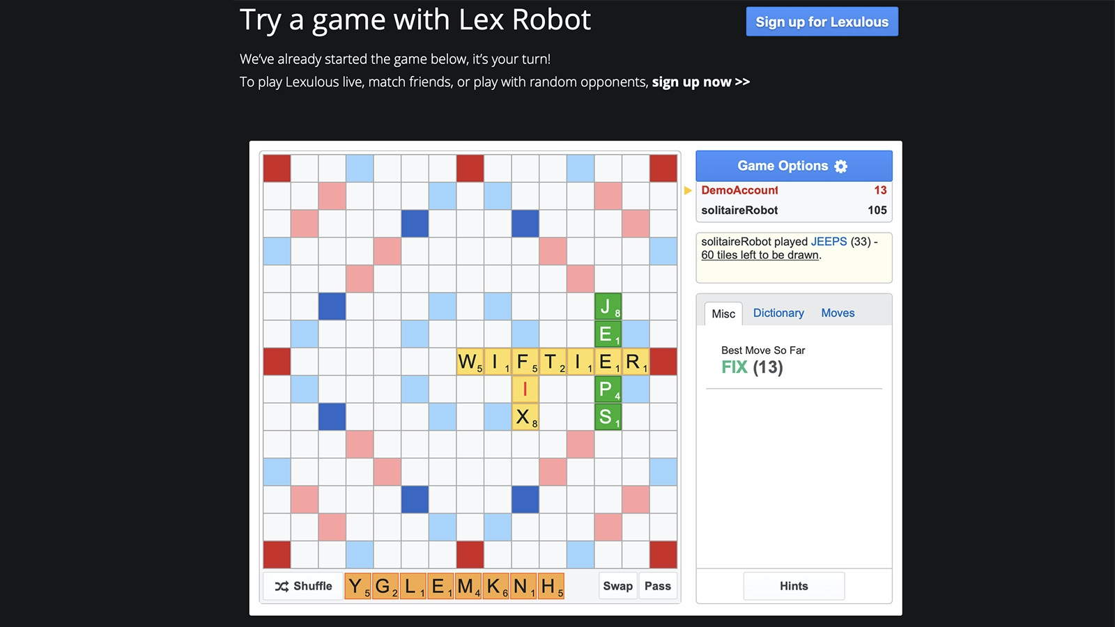 Screenshot of Lexulous game