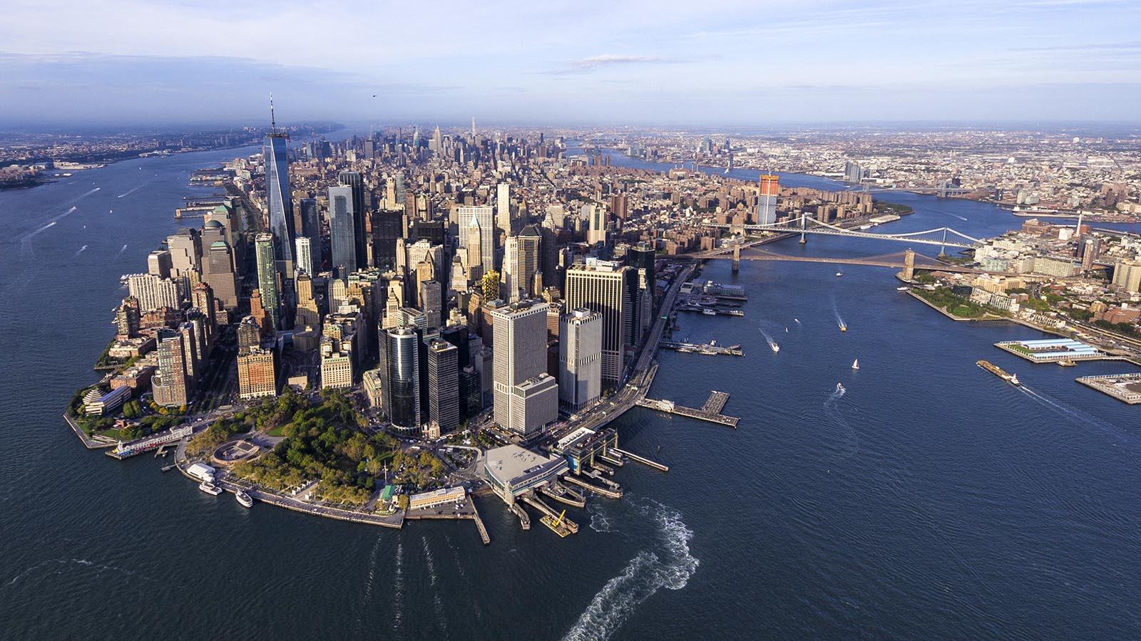 aerial view manhattan downtown new york city