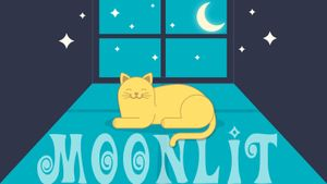moonlit cat in window