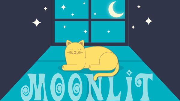 moonlit cat in window