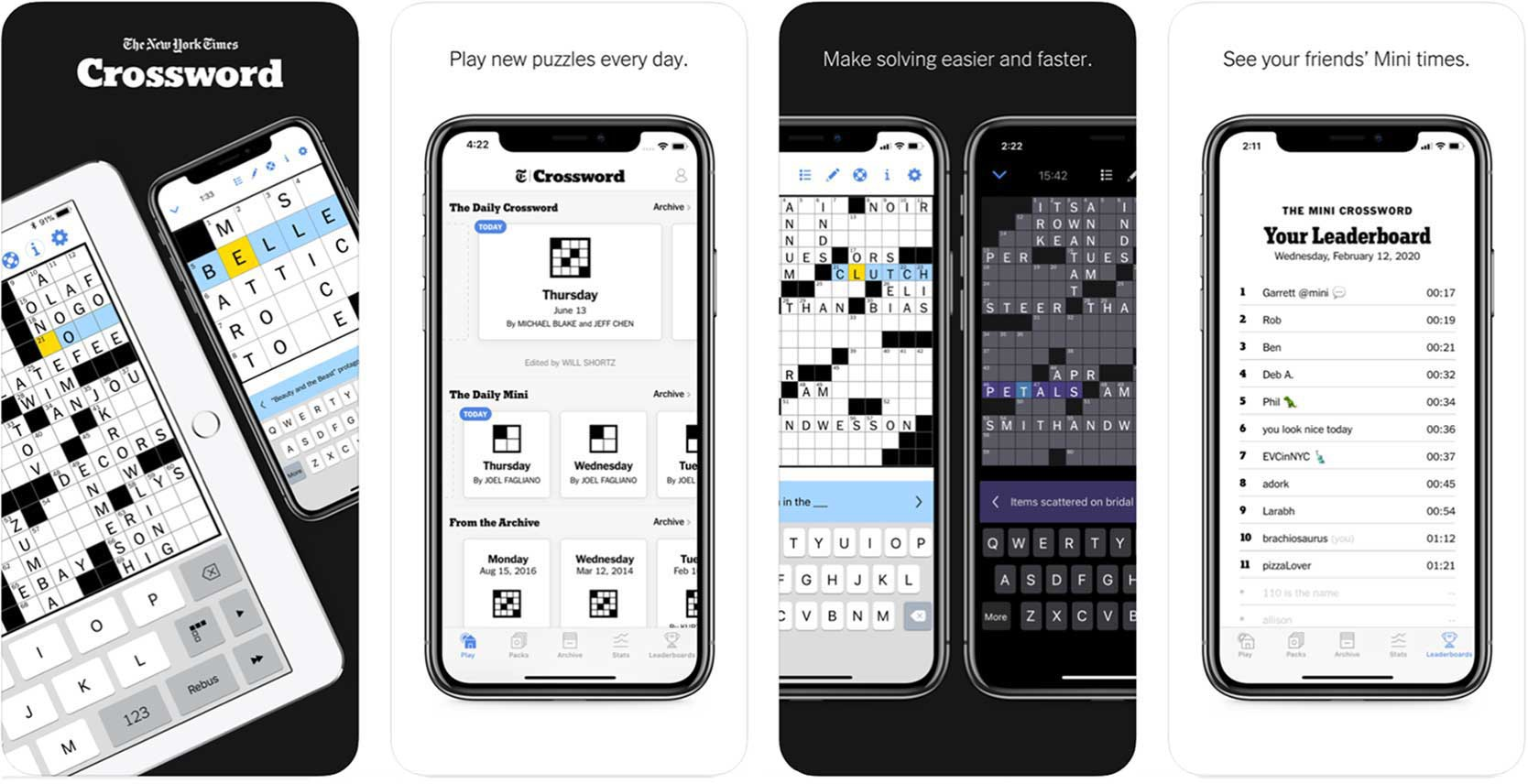 Screenshot of New York Times crossword puzzle game