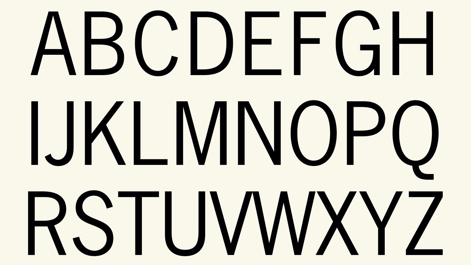 Alphabet in News Gothic Font