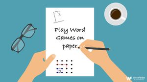 playing word games on paper with pencil