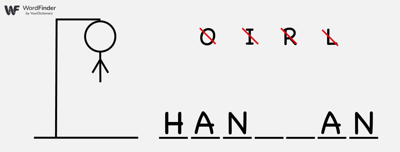 hangman word game on paper