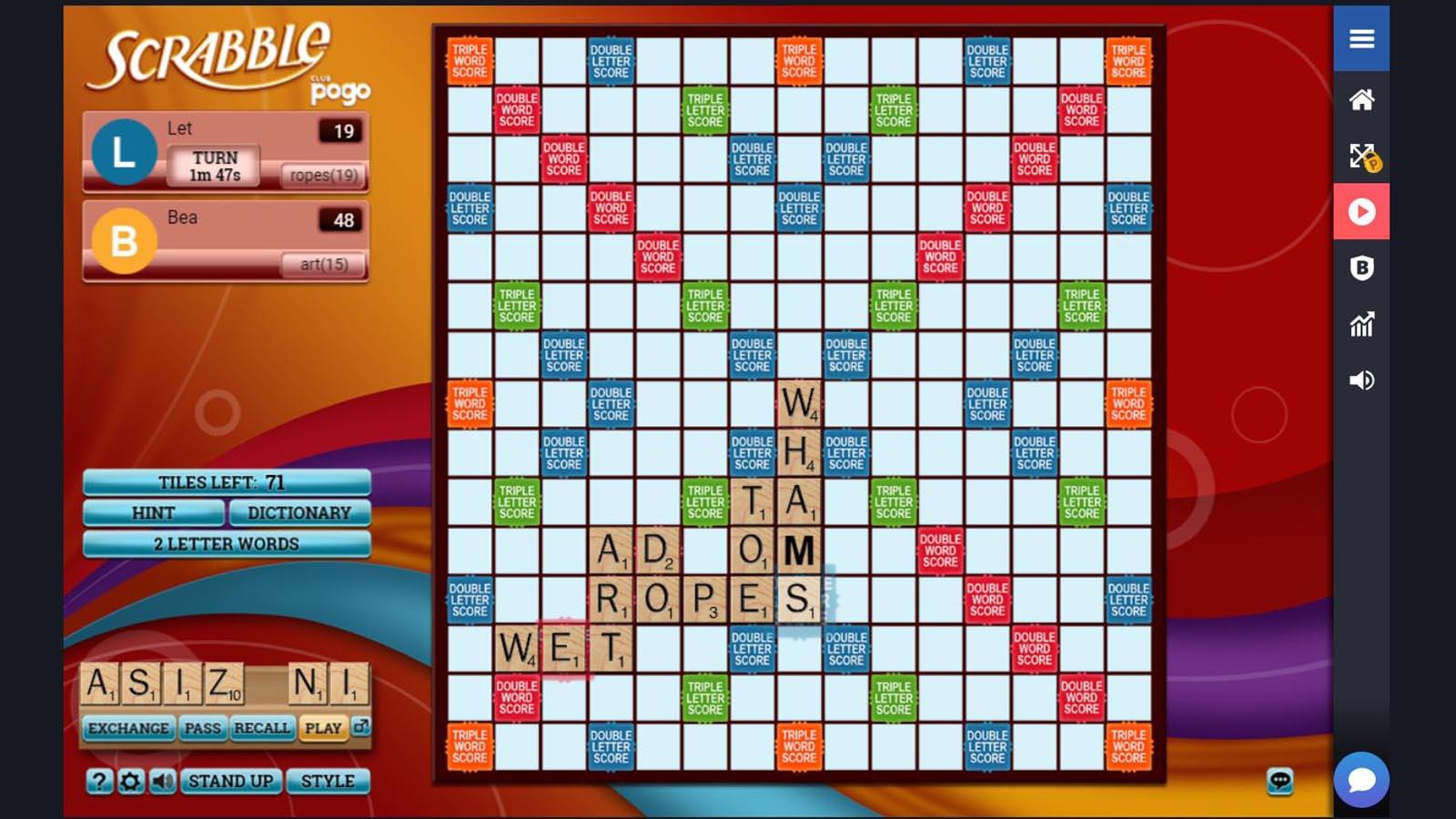 Screenshot of Pogo Scrabble game