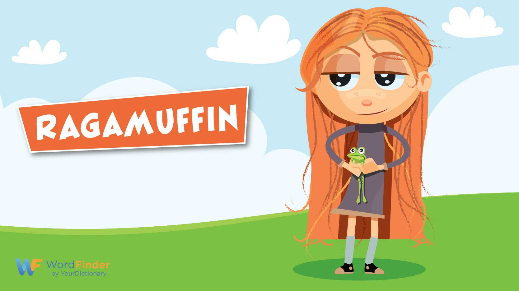 ragamuffin girl with frog