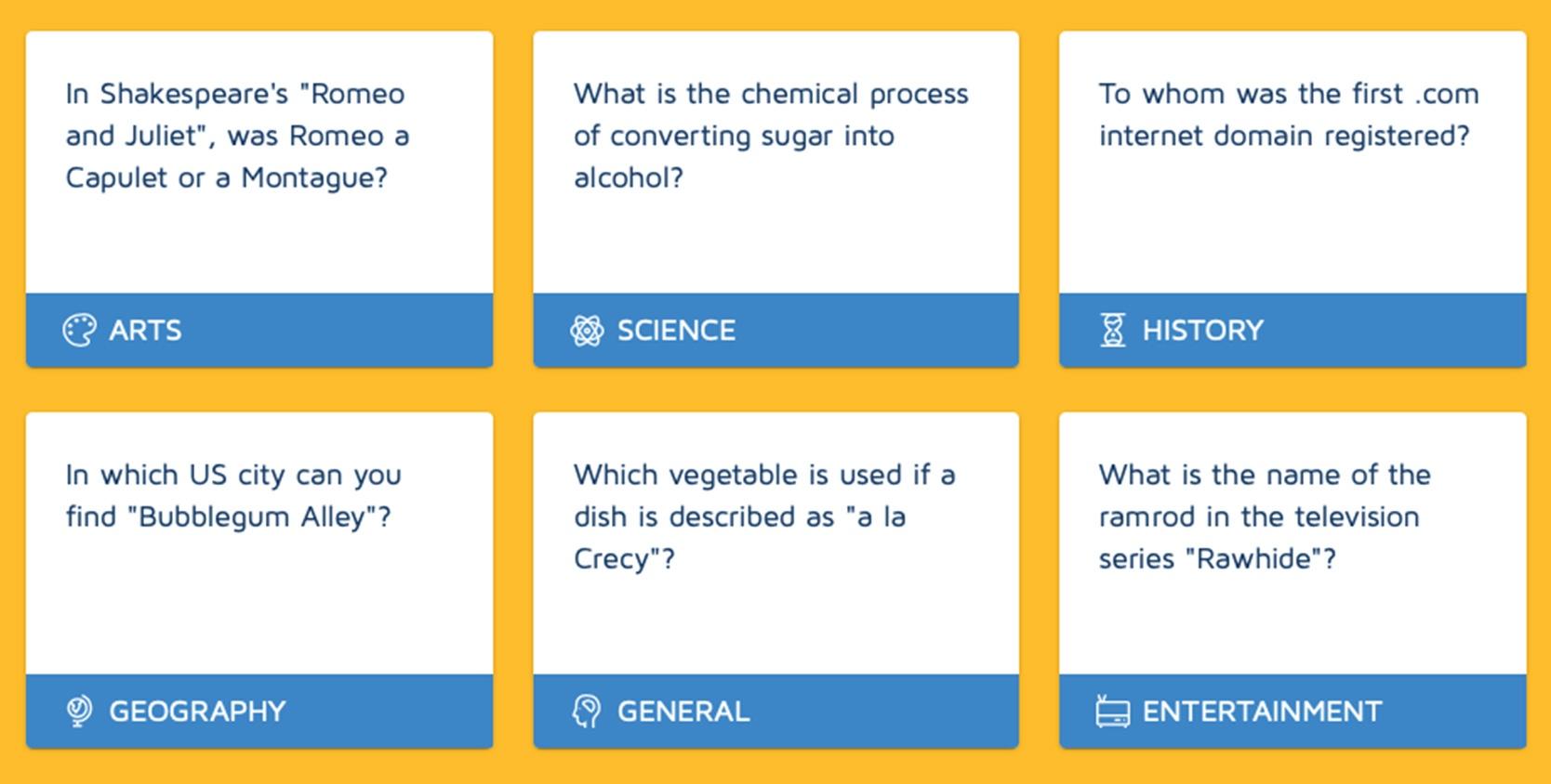 screenshot of Random Trivia Generator