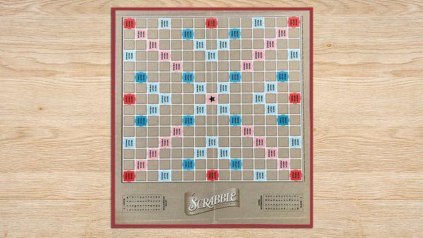 Scrabble Board on wood table top