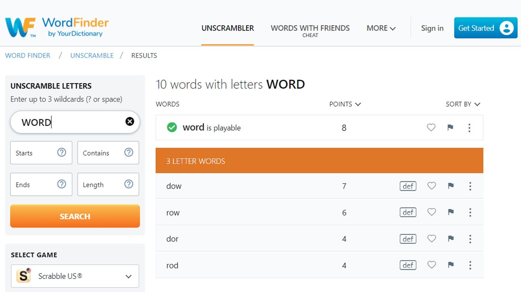 wordfinder scrabble word calculator