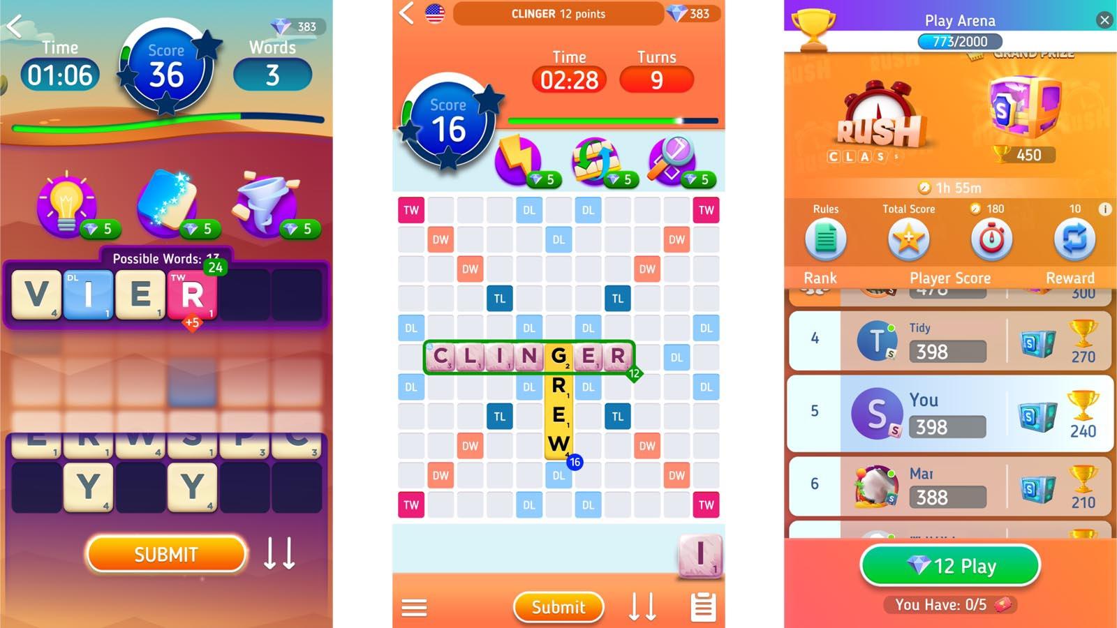 Scrabble Go modes screenshot