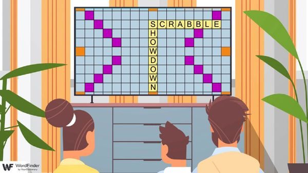 family watching scrabble showdown on television