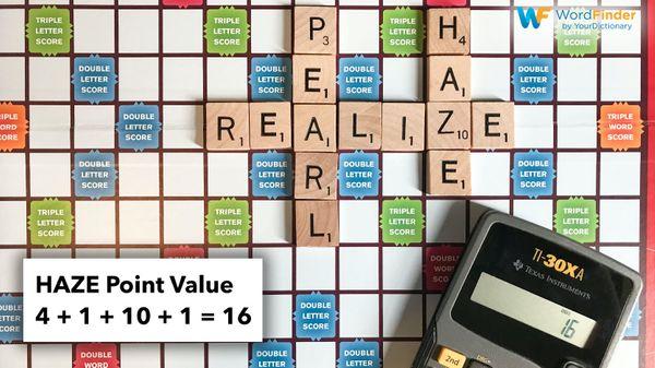 scrabble word value for HAZE
