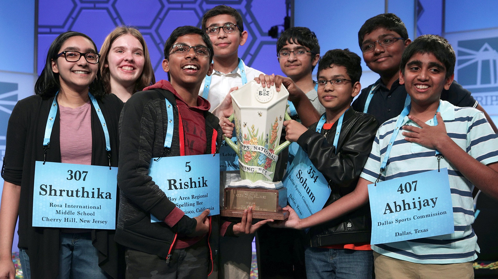 Winners of the 2019 Scripps National Spelling Bee