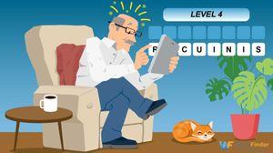 mature senior man playing online word game on tablet