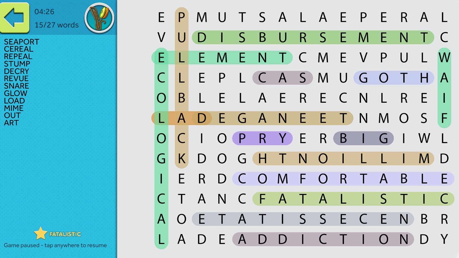 free letterpress word search game