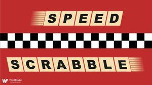 speedy scrabble tiles on red background