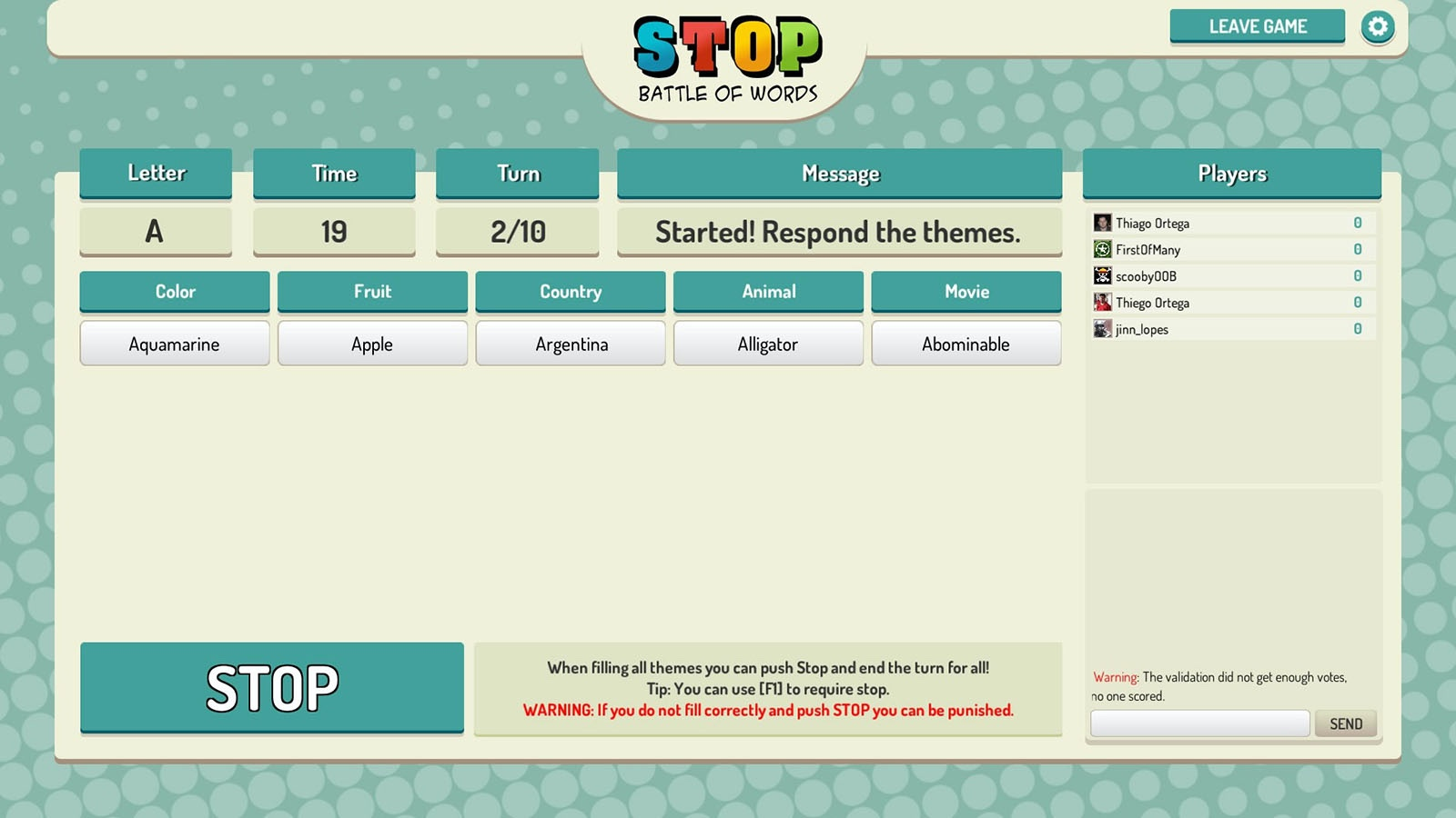 Screenshot of Stop Online Battle of Words