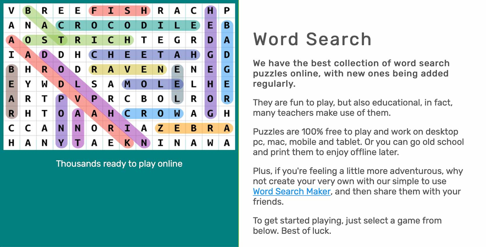 the word search online word game