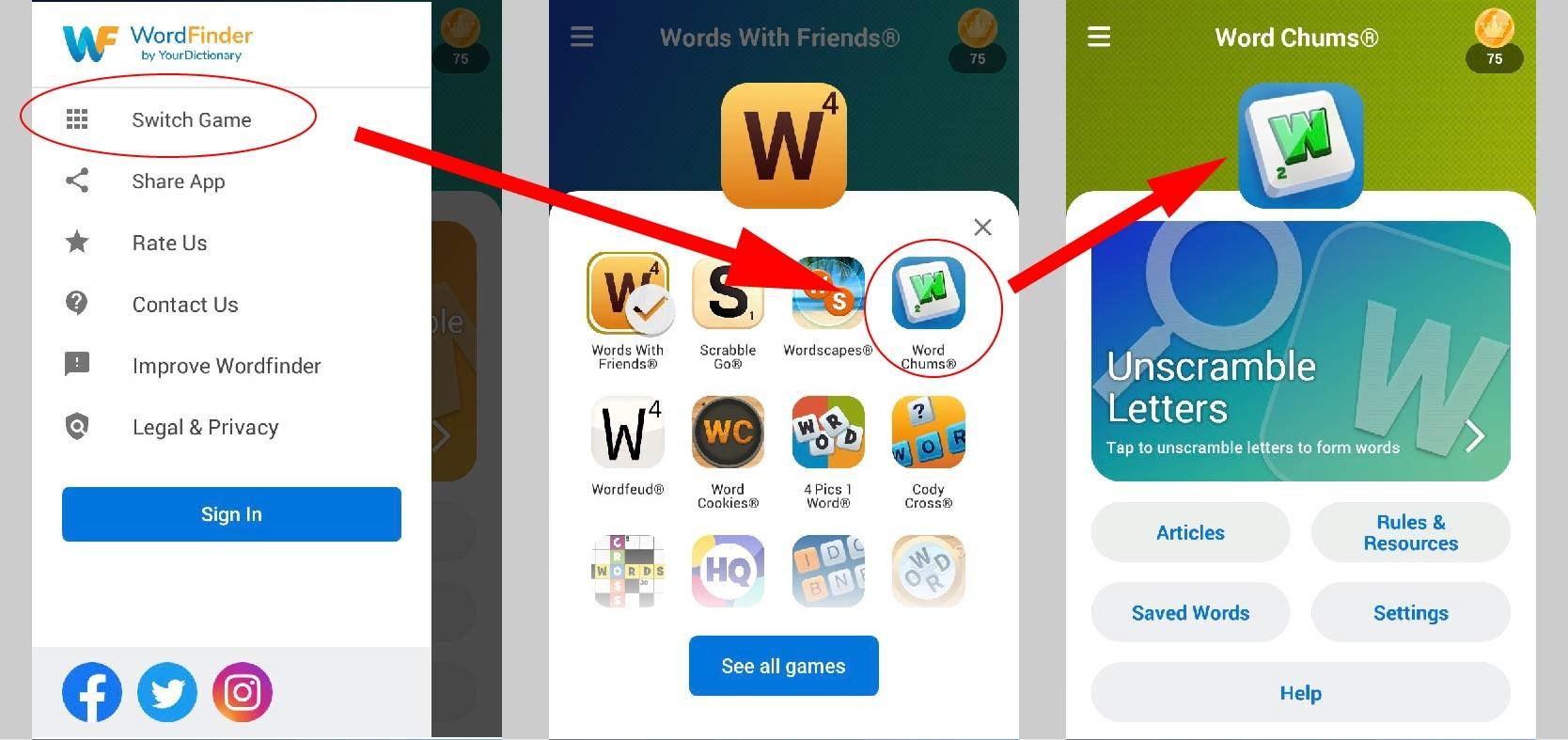 Wordfinder app change word games