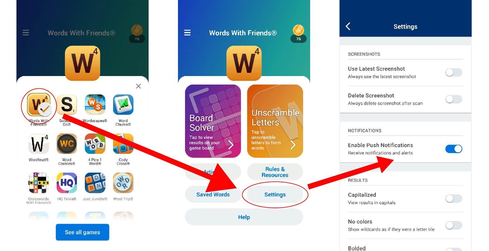 Wordfinder app update settings