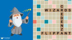 cartoon wizard playing scrabble